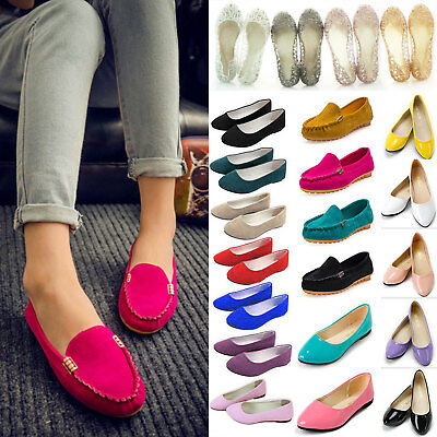 Womens Ballerina Ballet Dolly Pumps Slip On Flat Boat Loafers Shoes Moccasin US