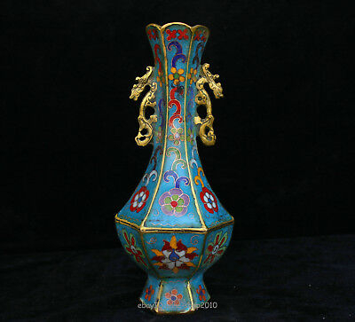 20cm China Bronze Brass Cloisonne Handmade dragon Vase jardiniere Sculpture ACXE
