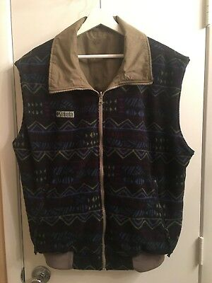 COLUMBIA Mens size Large reversible tribal Indian blanket fleece vest Vintage
