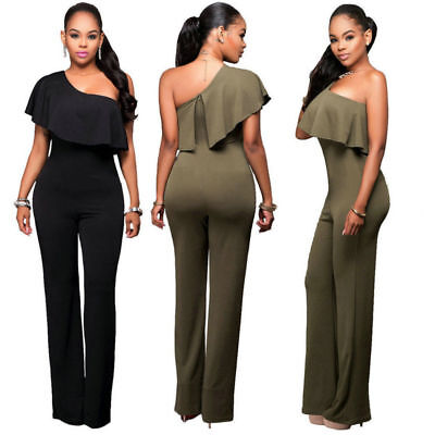 Women One Shoulder Playsuit Bodycon Party Jumpsuit Romper Trousers Plus size