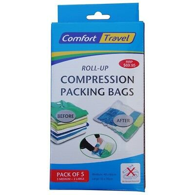 Comfort Travel 17010 Pack of 5 Roll Up Compression Packing Bags