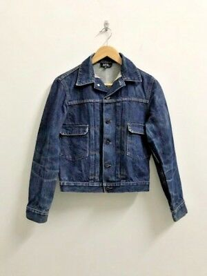 A.P.C. Jacket Selvedge Denim Trucker Jeans Distressed Men Small S XS Cropped APC