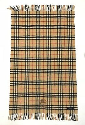 BURBERRY LONDON Beige Wool Made in Japan Wide Scarf Muffler 65 x 120 cm