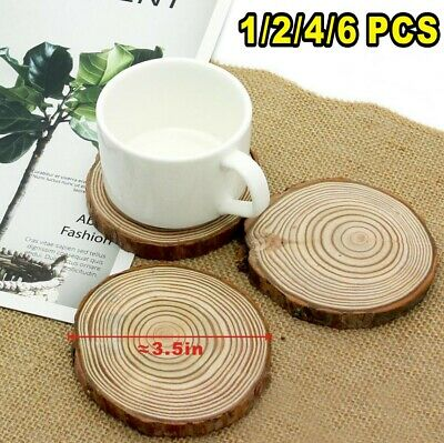 Set Of 4/6 Natural Wooden Shabby Chic Drinks Coasters Vintage Style Wood Slice