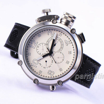 50mm Parnis Automatic Movement Men Sport Watch 24-hours Date Display White Dial