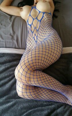 UK SELLER Crotchless Body Stocking Fish Net Tear Off Lingerie Blue