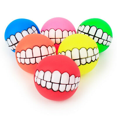 Pet Dog Ball Teeth Funny Silicon Toy Chew Squeaker Squeaky Sound Dogs Play Toy
