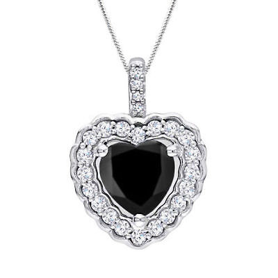 14k White Gold Over Halo Heart Shape 1.05CT Black Diamond Pendant With Chain 18""