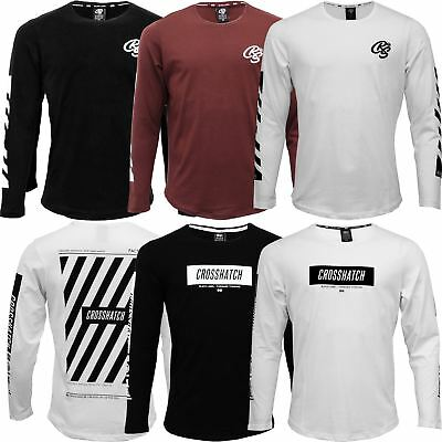 84bc2390ced4 New Mens Crosshatch Long Sleeve T Shirt Printed Crew Neck Cotton Soft Tee  Top