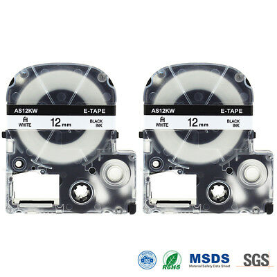 """Compatible EPSON LC-4WBN9 SS12KW Label Tape Black on white 12mm 1/2"""" LW400 2PK"""