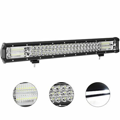 23 inch CREE LED Light Bar SPOT FLOOD 4x4 Driving Work Bars Quad Rows 12V 24V