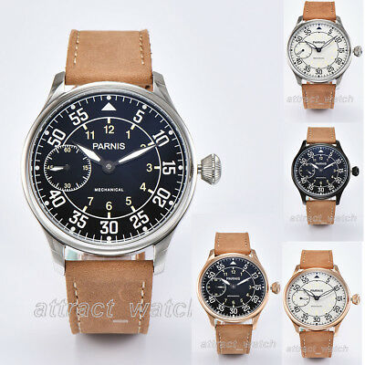 44mm Parnis Hand Winding Movement Men's Mechanical Casual Wristwatch Pilot Watch