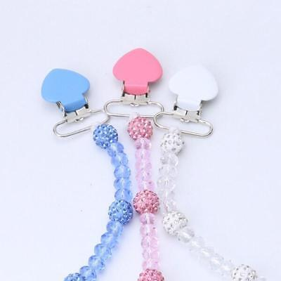 Crystal Bling Baby Romany Gift Soother Dummy Pacifier Clip Chain T