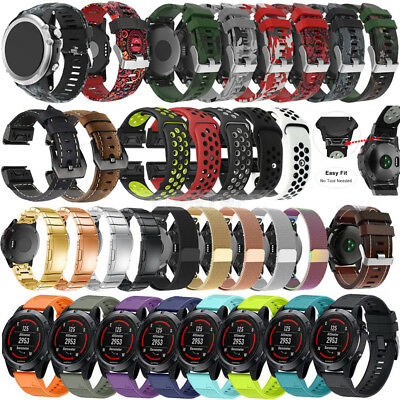 Stainless Steel Silicone Leather Band Strap Bracelet For Garmin Fenix 5 5X Plus
