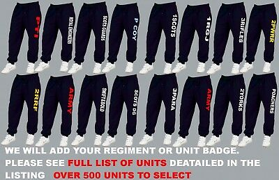 Units R To R Embroidered Army Raf Royal Navy Jogging Jog Bottoms Trousers Pants