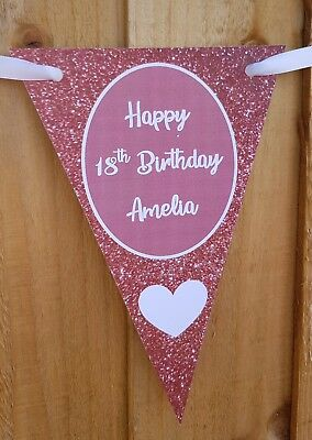 Personalised Birthday Bunting 13th 16th 18th 21st 30 40 ROSE GOLD GLITTER EFFECT