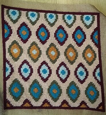 Modern Tapestry: Unique Handmade 'Lattice (Maroon border)' Sampler