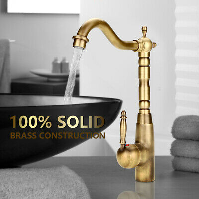 Retro Solid Brass Kitchen Bathroom Basin Sink Faucet Hot & Cold Pipes Mixer Tap