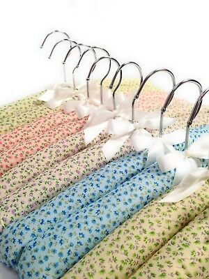 Fantastic Quality Set of 10 Padded Clothes Hangers - Felicity Flower