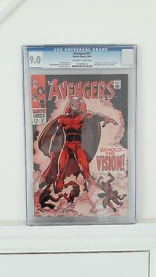 AVENGERS #57 CGC High Grade 9.0 Marvel Comics 1st Appearance Of Vision FreeP&P!