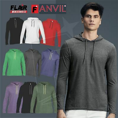 143b3db5d49 Anvil Adult Lightweight Long Sleeve Hooded Tee Mens Fashion Basic Semi  Fitted T