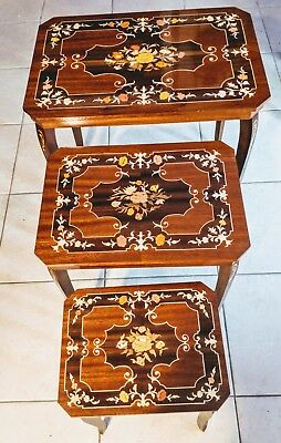 Vintage Italian Marquetry Nesting Tables w/Music Box, Inlaid Wood Made in Italy