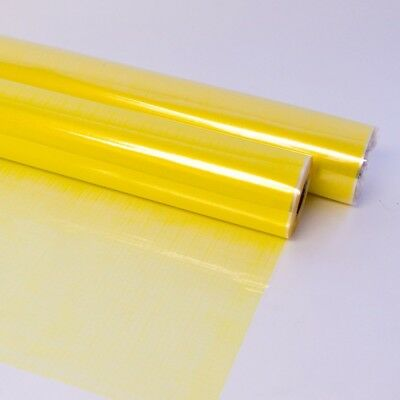 YELLOW HESSIAN PRINTED Cellophane Film Clear Flower Gift Hamper Wrap Roll