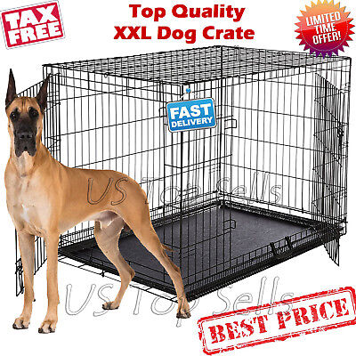 Extra Large Dog Crate Kennel 48 Folding Pet Cage Metal 2 Doors Tray
