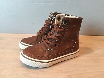 NEW Cherokee Brown Lace Up High Top Shoes Toddler Boys 6