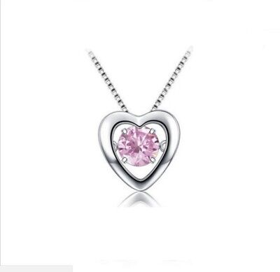 925 Sterling Silver Dancing Pink Cubic Zirconia Love *Heart* Pendant Necklace