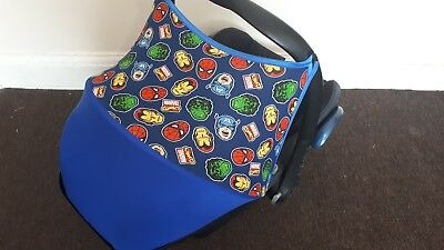 maxi cosi cabriofix car seat hood canopy sun shade marvel heroes with royal blue