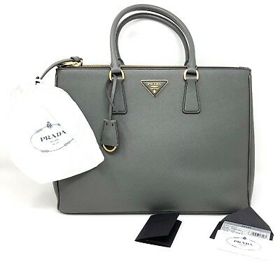 e63e9c239f030e PRADA SAFFIANO LUX Double Zip Tote Mercurio Grey Handbag - New ...