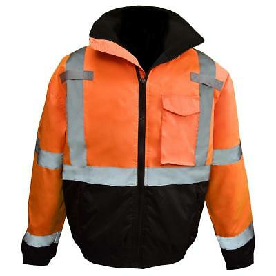 Radians Class 3 Reflective Safety Bomber Jacket with Quilted Liner, Orange