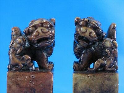FOO DOGS Vintage Chinese Carved soapstone Very Good Condition