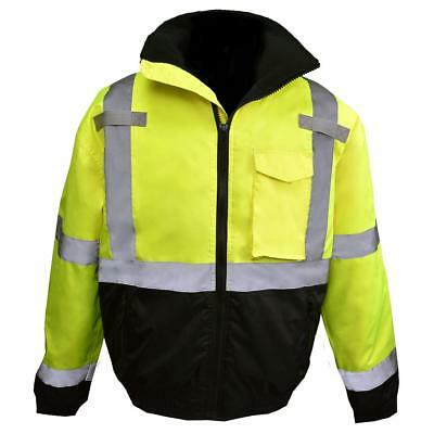 Radians Class 3 Reflective Safety Bomber Jacket with Quilted Liner, Yellow/Lime