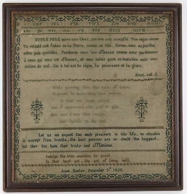 Sampler cross stitch embroidery French Lord's Prayer Anne Bowley 1828.