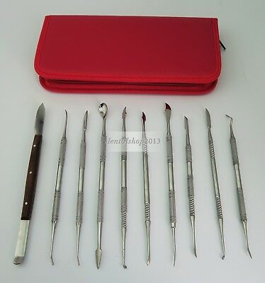 10Pc Dental Lab Stainless Steel Wax Carving Tools Set Sculpture Knife Instrument