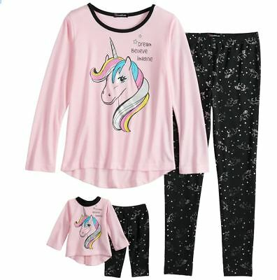 """Girl 4-10 and 18"""" Doll Matching Unicorn Winter Pajamas Outfit fit American Girl"""