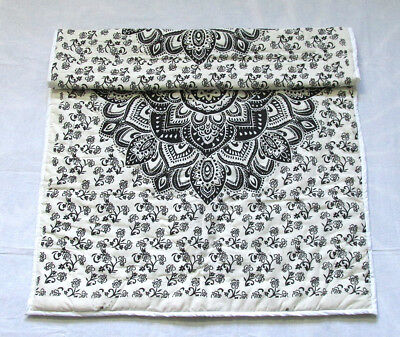 New Baby Quilt Black White Ombrey Mandala Throw Coverlet With 100% Cotton Filled