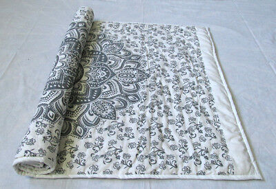 New Baby Quilt Black Grey Ombrey Mandala Throw Coverlet With 100% Cotton Filled