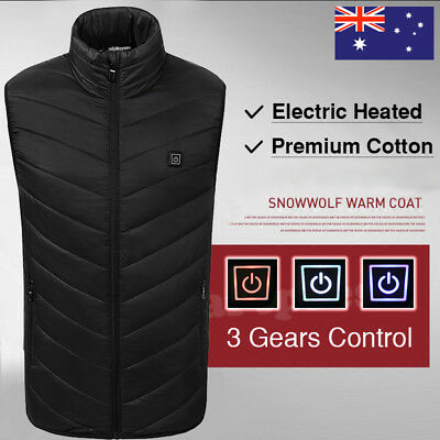 USB Electric Heated Warm Vest Men Women Rechargeable Heating Coat Jacket Skiing