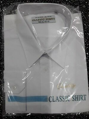 "New Mens Smart 18"" Business Formal Work Long Sleeve Classic  Plain White Shirt"