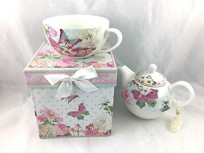 Delton Products Porcelain Tea for One with Decorative Gift Box, Butterfly