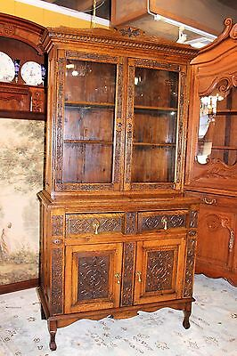 Tall Antique Oak Buffet Glass Door Dining Room Display Cabinet Hutch Bookcase