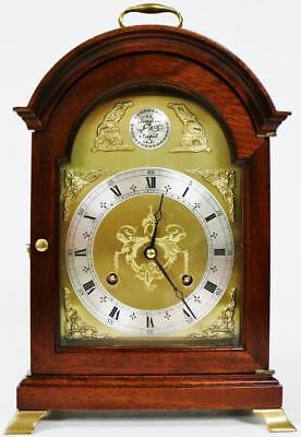 Vintage English Comitti 8 Day Bell Striking Mahogany Georgian Style Mantel Clock