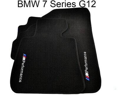 BMW 7 Series G12 Black Floor Mats With ///M Performance Emblem Clips LHD Side