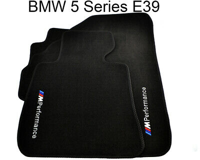 BMW 5 Series E39 Black Floor Mats With ///M Performance Emblem Clip TAILORED LHD