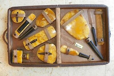 Antique Travel Toiletry Kit Hard Leather Case w/ 10 Accessories  and I Missing