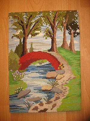Vintage Country River Scene Tapestry with textured stitching