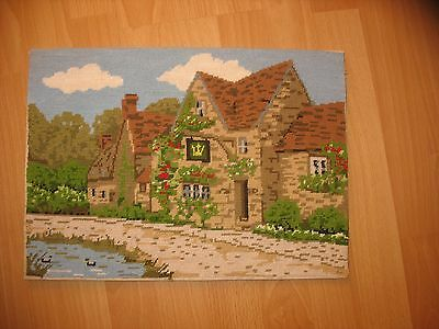 English Country Pub Completed Wool Tapestry